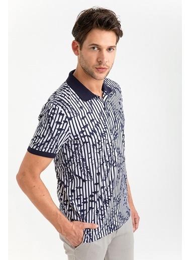 Avva Erkek  Polo Yaka Baskılı Tişört A01S1247 Lacivert
